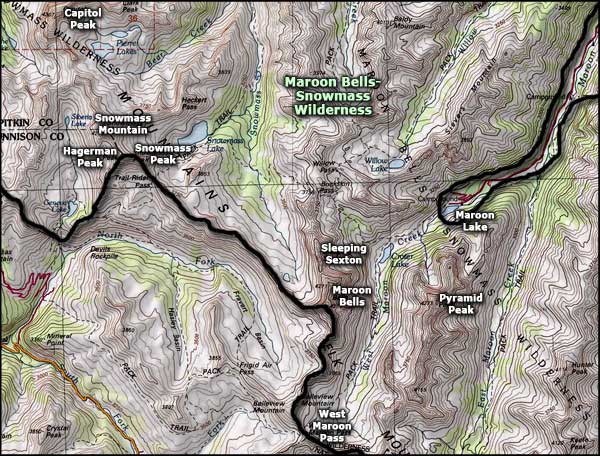 Maroon Bells-Snowmass Wilderness map