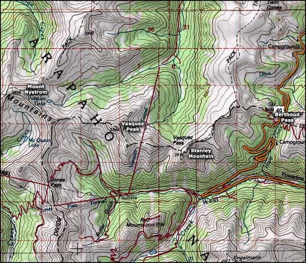 Vasquez Peak Wilderness area map
