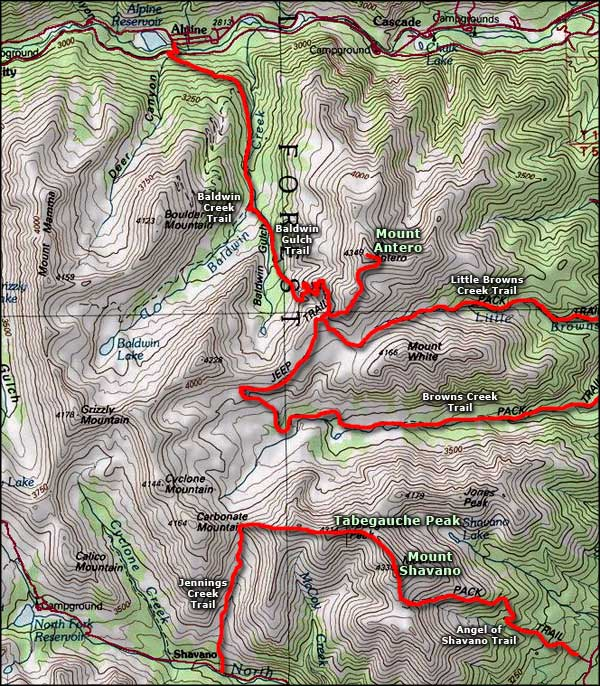 Tabeguache Peak area map