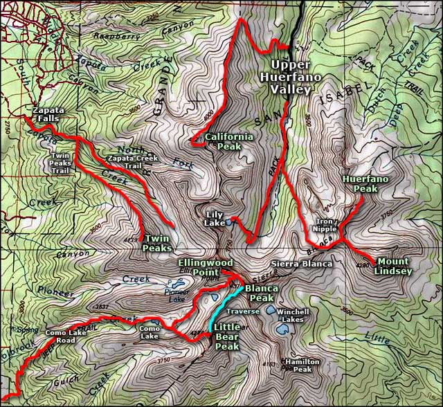 Mount Lindsey area map