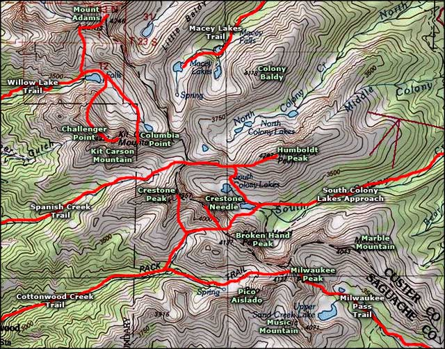 Kit Carson Mountain area map