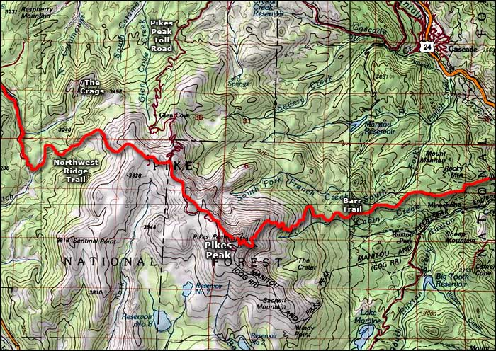Pikes Peak area map