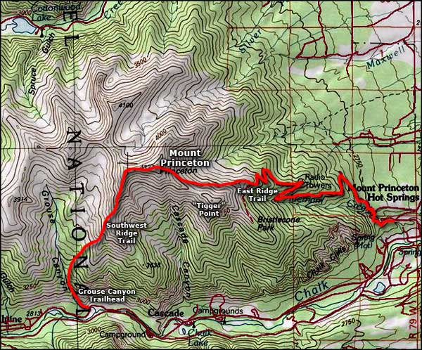 Mount Princeton area topo map