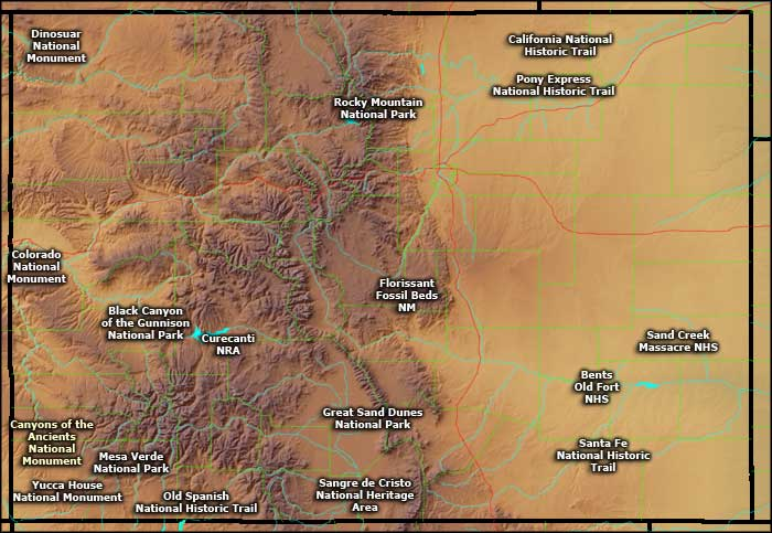 Location map of the National Park Service Sites in Colorado