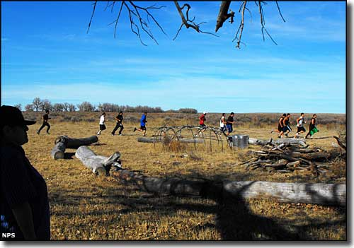 Runners along the course of the Sand Creek Massacre Spiritual Healing Run in 2009