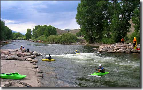 Kayaks in the Arkansas River near Salida