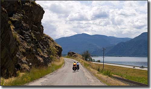 Bikers on the old highway near East Hope, Idaho