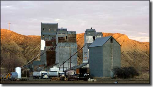 The grain elevators in Loma, Montana