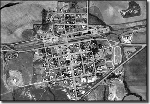 Aerial view of Richey, Montana