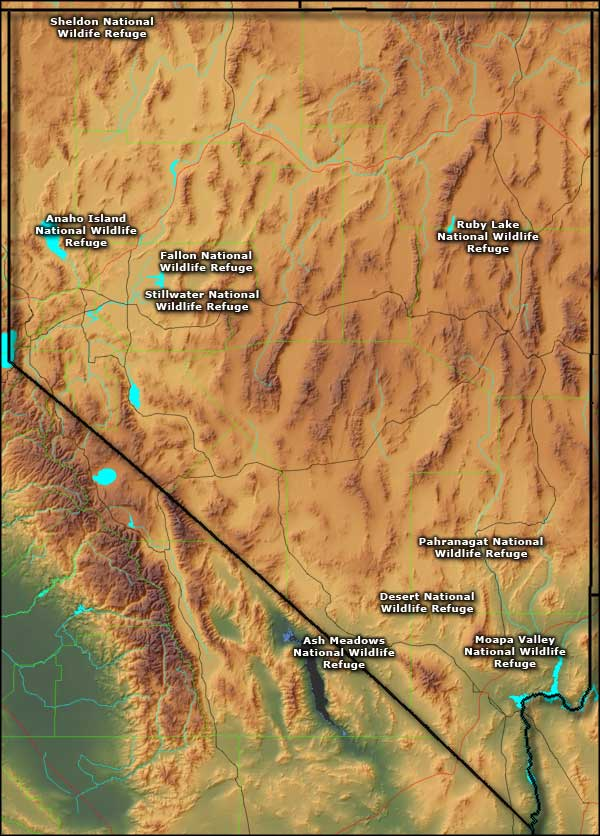 Nevada's National Wildlife Refuges map