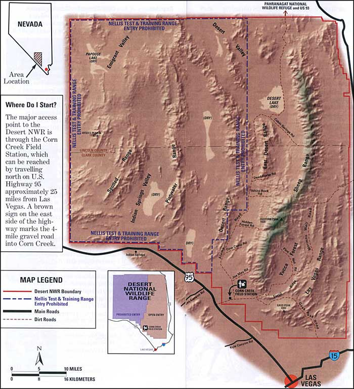 Desert National Wildlife Refuge area map