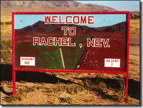 Welcome to Rachel sign, with population stats