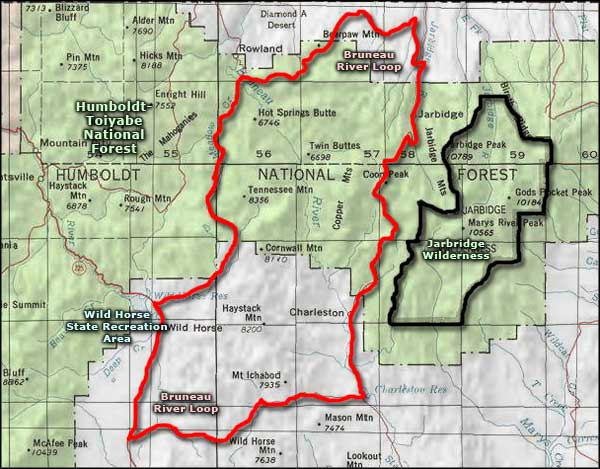 Bruneau River Loop Back Country Byway area map
