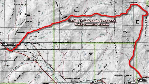 Carlin to Golconda Proposed Back Country Byway area map