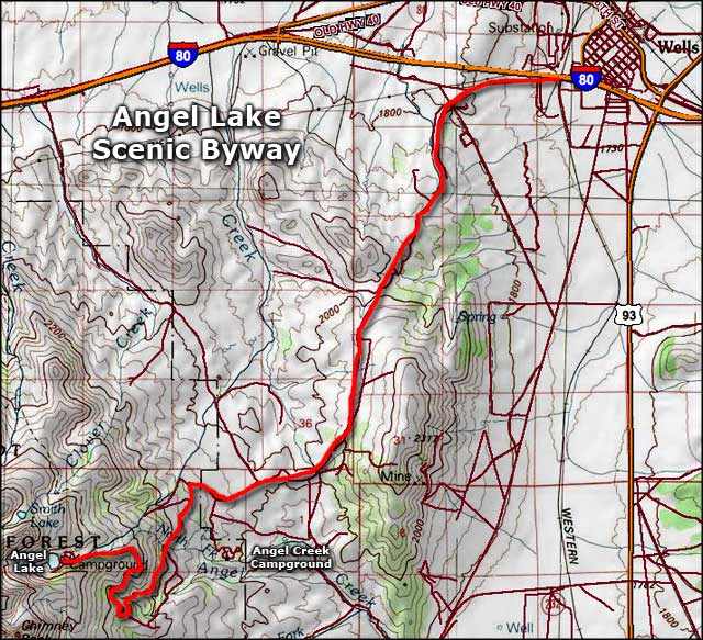 Angel Lake Scenic Byway area map