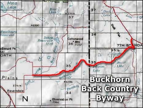 Buckhorn Back Country Byway area map