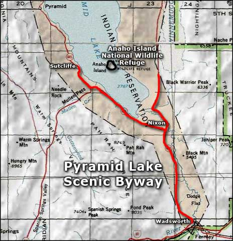Pyramid Lake Scenic Byway area map