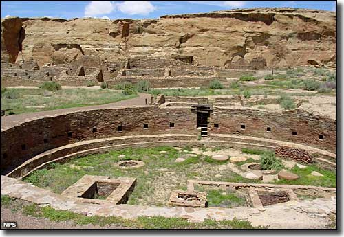 The main kiva and pueblo at Chetro Ketl in Chaco Canyon