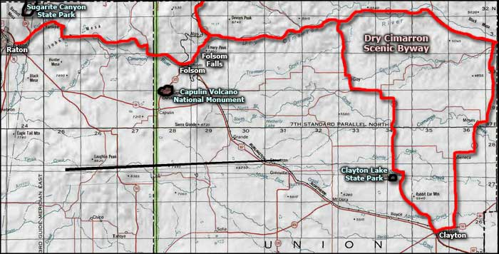 Dry Cimarron Scenic Byway area map