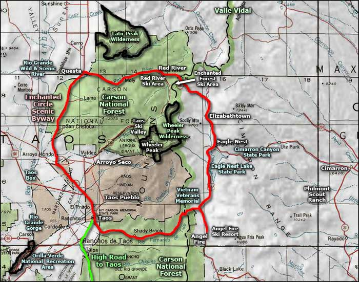 Latir Peak Wilderness area map