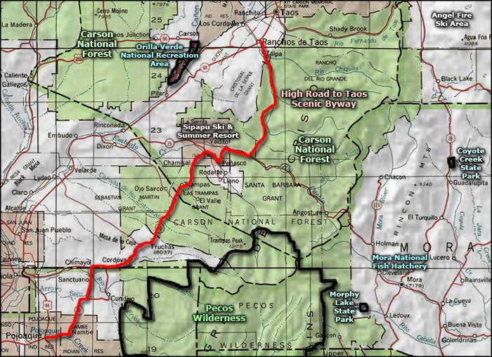 High Road to Taos Scenic Byway area map