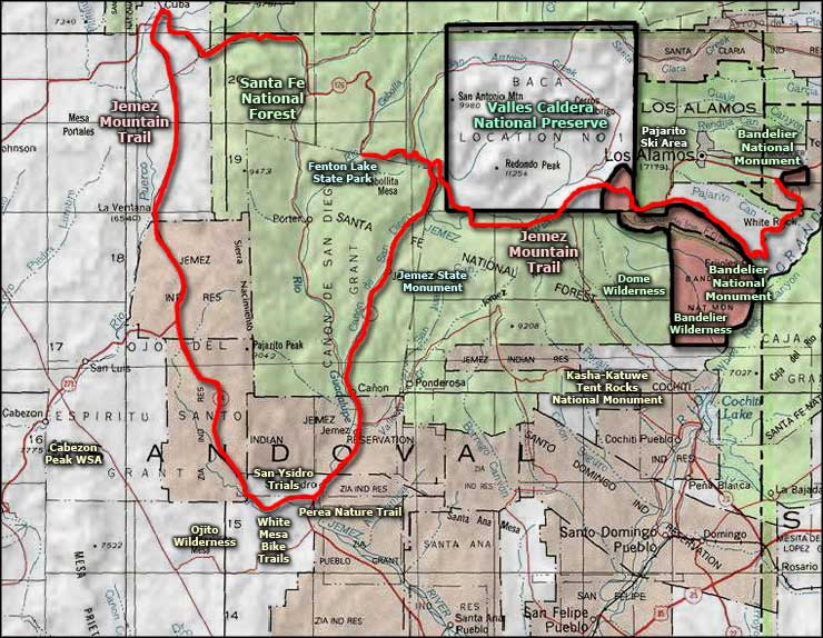 Jemez Mountain Trail Scenic Byway area map