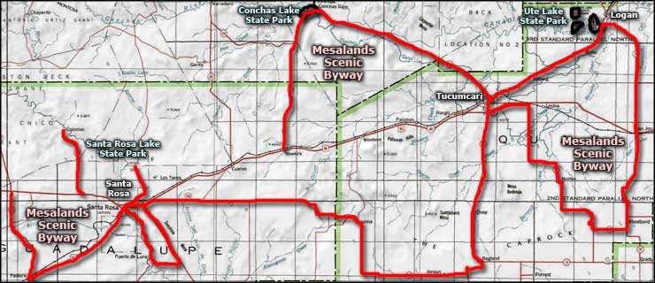 Mesalands Scenic Byway area map