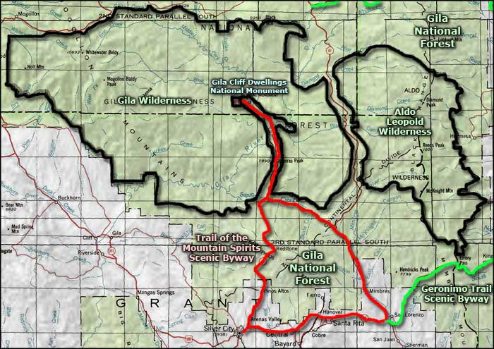 Trail of the Mountain Spirits Scenic Byway area map