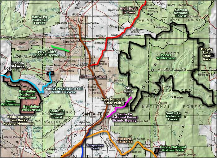 Pecos Wilderness area map