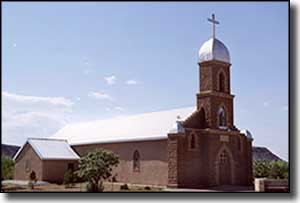 One of the churches in Puerto de Luna, along the Mesalands Scenic Byway