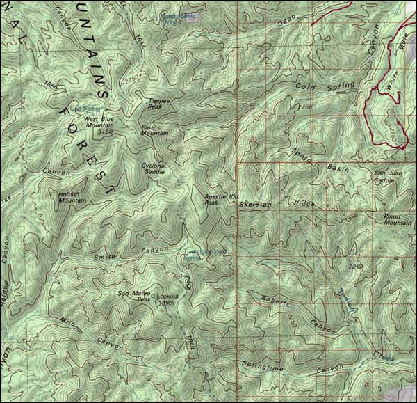 Apache Kid Wilderness map