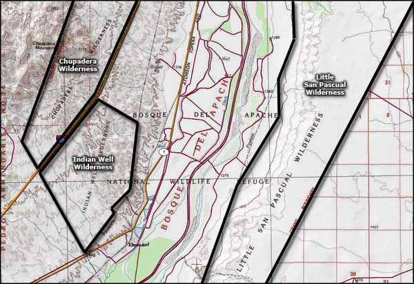Bosque del Apache Wilderness map