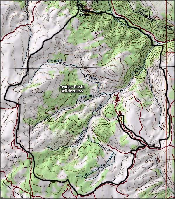 Cruces Basin Wilderness map