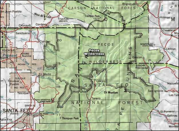 Pecos Wilderness map