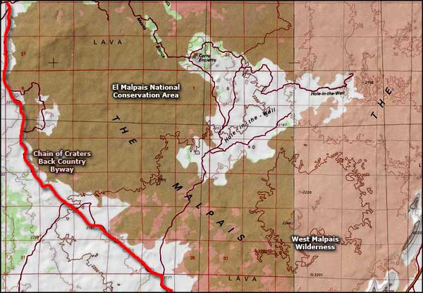 West Malpais Wilderness map
