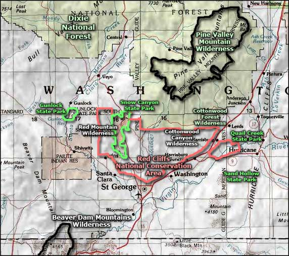 Pine Valley Mountain Wilderness area map