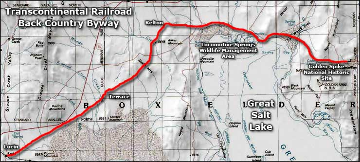 Area map of the Transcontinental Railroad Back Country Byway