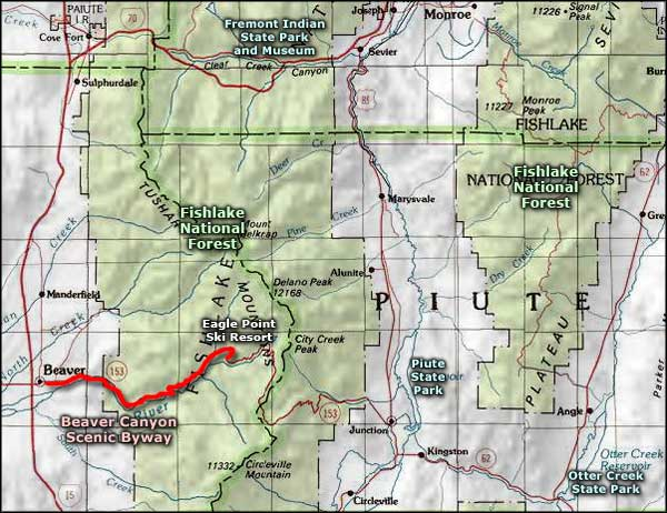 Fremont Indian State Park and Museum area map