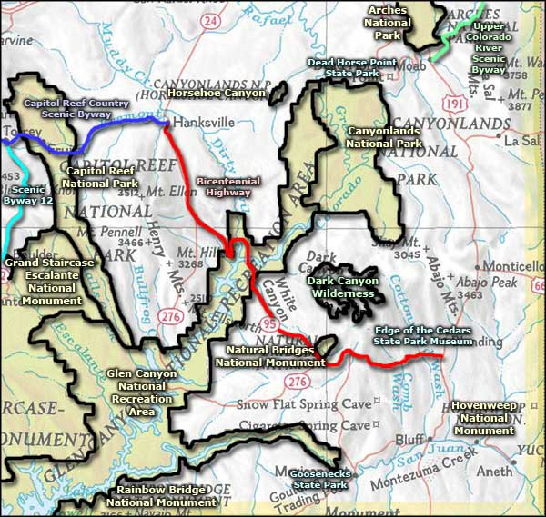 Dark Canyon Wilderness area map