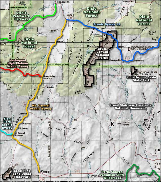 Map of the Bryce Canyon National Park area