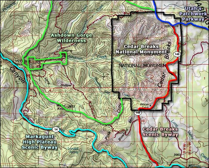 Ashdown Gorge Wilderness area map