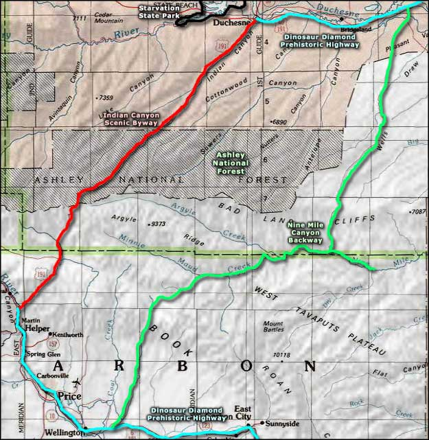 Indian Canyon Scenic Byway area map