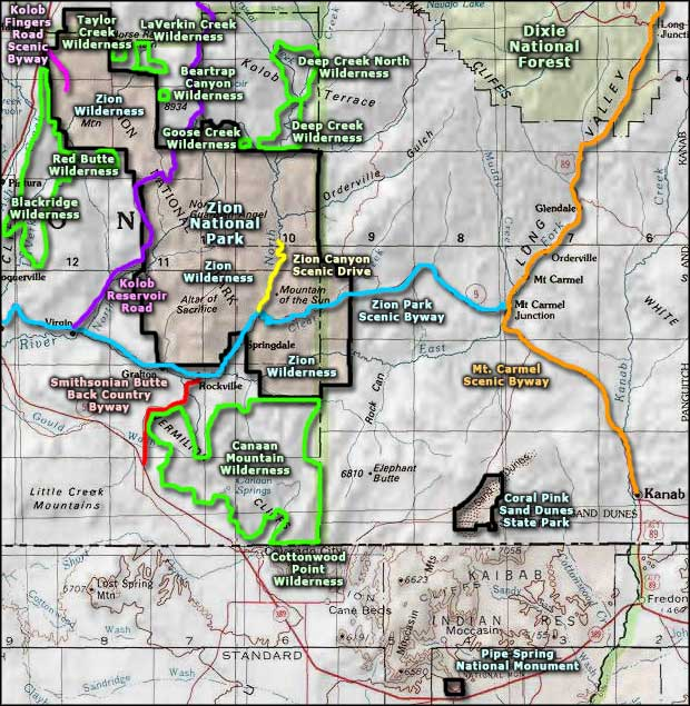 Kolob Fingers Road Scenic Byway area map
