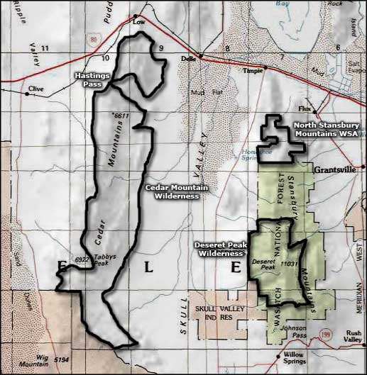 North Stansbury Mountains Wilderness Study Area area map
