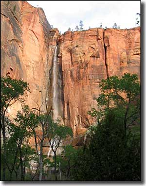 Sinawava Waterfall, at the north end of the Zion Canyon Scenic Byway