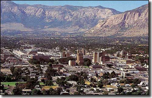 An aerial view of downtown Ogden