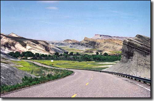 Driving through tilted layers of Mancos shale