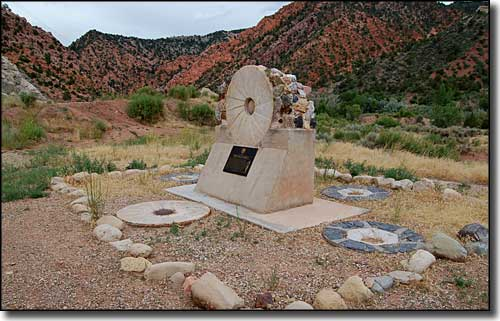 Memorial commemorating an old mill site in Cedar Canyon