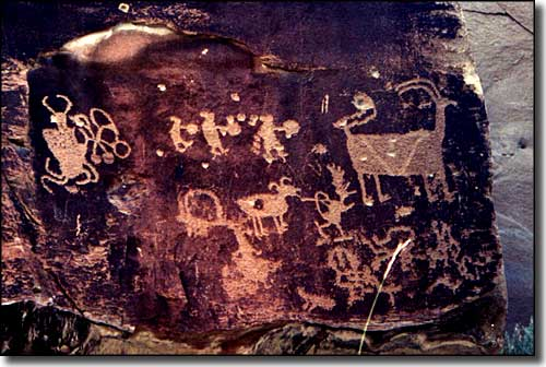 One of the rock art panels found along Nine Mile Canyon Backway