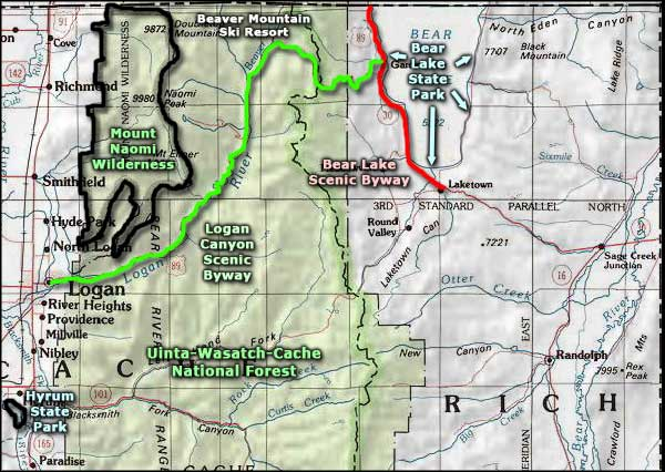 Bear Lake State Park area map